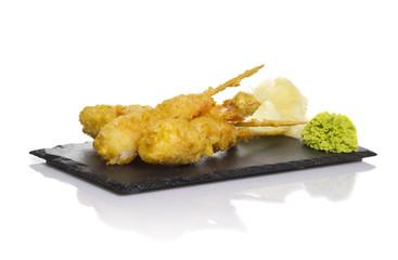 Eby shrimp in tempura isolated on white background