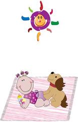 Bebé con perro en alfombra y reloj