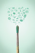 Brush close-up with social media icons