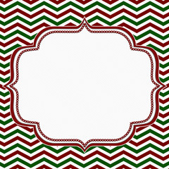 Red, Green and White Chevron Frame with Embroidery Background