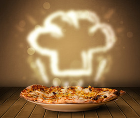 Delicious pizza with chef cook hat steam illustration
