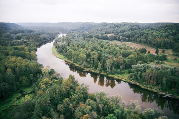 river of Gauja and forests from above