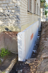foundation  concrete construction and  insulation  styrofoam