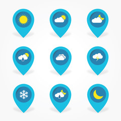 Flat Weather cloud icons set in pointer