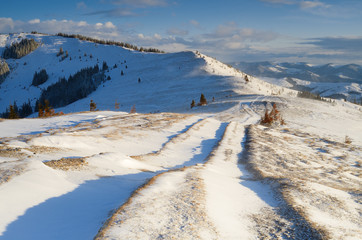 Road in the mountains in winter