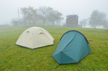 Two tents near the house
