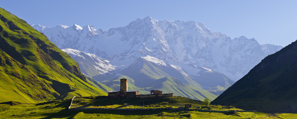 Church at the foot of the Caucasus Mountains