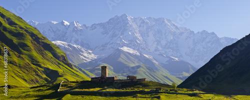 Church at the foot of the Caucasus Mountains © Oleksandr Kotenko