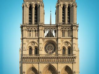 Notre Dame Cathedral on blue background, Paris, France