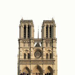 Notre Dame Cathedral on white background, Paris, France