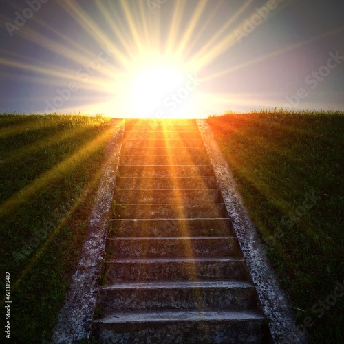 canvas print picture Light stairway