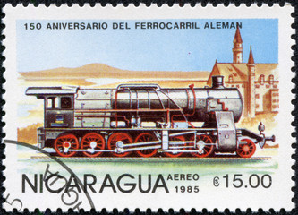 stamp printed in Nicaragua shows locomotive