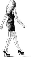 striding slim girl