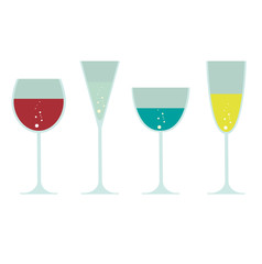 vector wineglass, champagne and cocktail glass silhouette