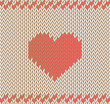 Vector knitted background with heart pattern.