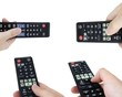 TV remote control set isolated on white background