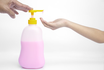 Liquid soap pump dispenser isolated.
