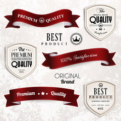 Vector set of retro vintage ribbons and badges.