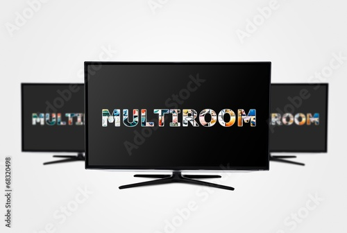 Television multi-room technology. Display with multiple masked i - 68320498