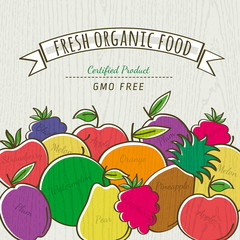 set of organic fruits, vector illustration