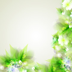 Abstract artistic Background with green floral element