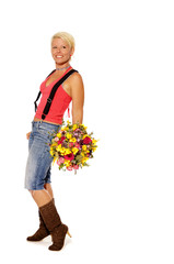 Young attractive woman holds bouquet of flowers