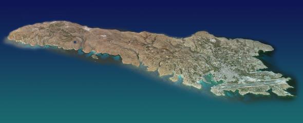 Isola di Lampedusa, mappa, vista aerea