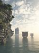 Leinwandbild Motiv Viking Longships in Unknown Waters