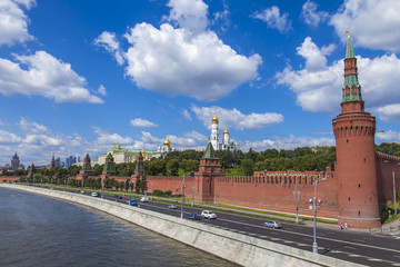 Moscow, Russia. View of the Kremlin and Kremlevskaya Embankment