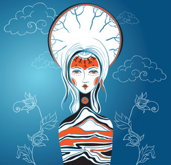 Vector illustration of the Goddess. Female archetype. Mother nat