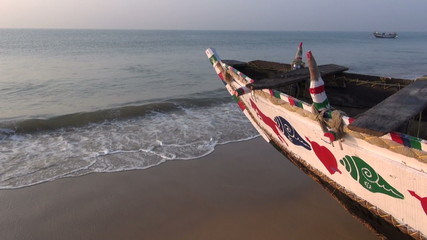 colorful wooden boat on Arabian sea, South India