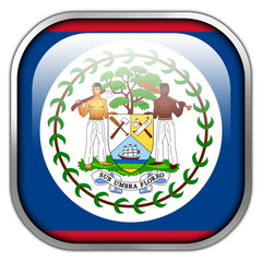 Belize Flag square glossy button