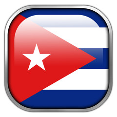 Cuba Flag square glossy button