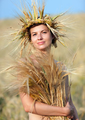 woman in field of wheat