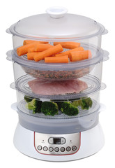 Steam cooker with vegetables