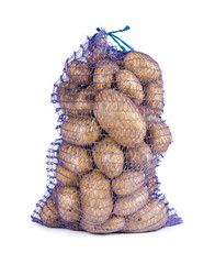 Raw potatoes in a sack