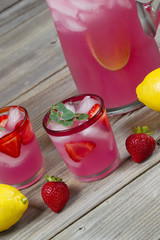 Pink Lemonade with Fruit