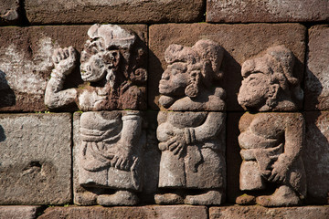 Ancient fretwork on an old Indonesian temple