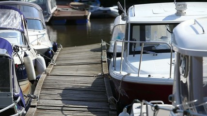 Boats moored at the pier