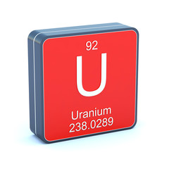 Uranium - element of the periodic table on 3d red icon