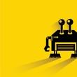 robot, yellow background