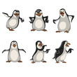 cartoon penguin in different poses