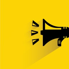 megaphone, yellow background