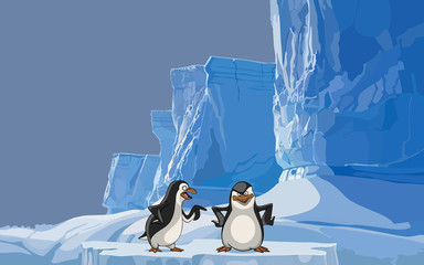 cartoon two penguin on the background of the iceberg