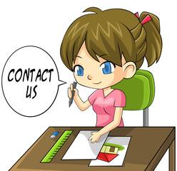 Cartoon girl artist writing a contact us paper board
