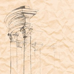 architectural element on a crumpled paper.