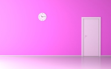 Wall clock in empty room with pink wall and white door