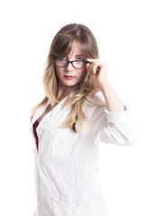 Female Doctor Peering From Eye Glasses
