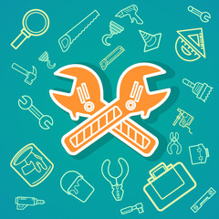 Wrench and Tools icons .Illustration eps10
