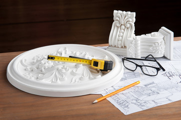 Closeup portrait of spectacles, design drawing, yellow pencil an